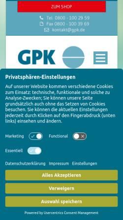 Vorschau der mobilen Webseite www.gpk.de, GPK Gesellschaft für medizinische Prävention und Kommunikation mbH
