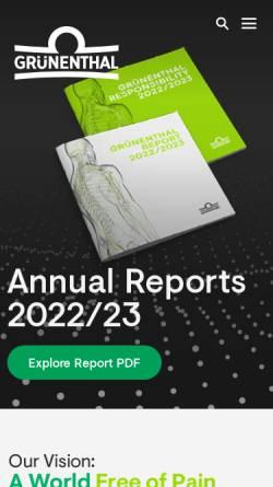 Vorschau der mobilen Webseite www.grunenthal.com, Grünenthal GmbH