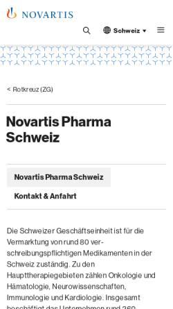 Vorschau der mobilen Webseite www.novartispharma.ch, Novartis Pharma Schweiz AG