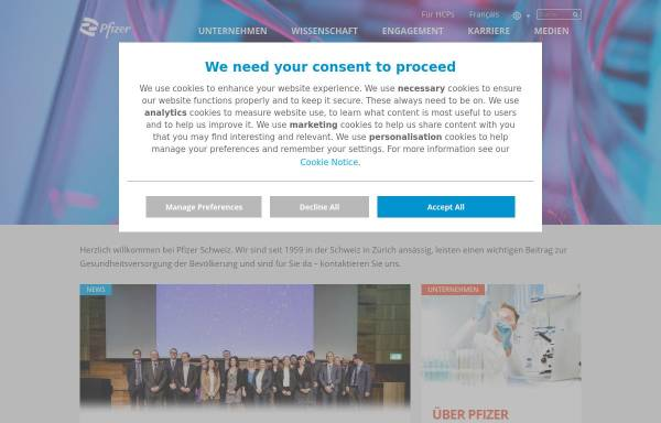 Vorschau von www.pfizer.ch, Pfizer AG