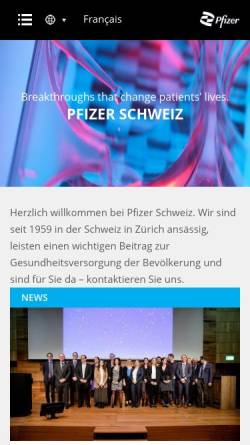 Vorschau der mobilen Webseite www.pfizer.ch, Pfizer AG