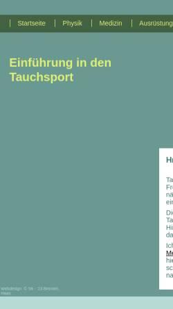 Vorschau der mobilen Webseite tauchen.marcus-haas.de, Einführung in den Tauchsport