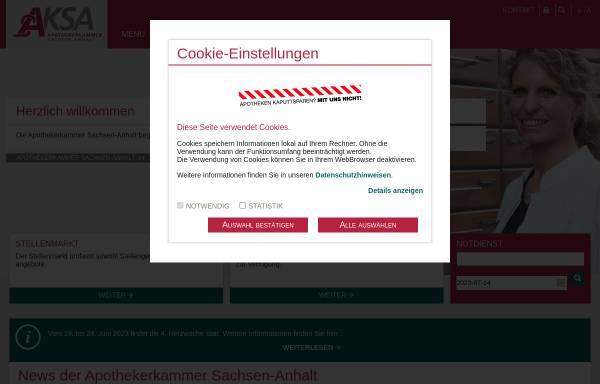 Vorschau von www.ak-sa.de, Apothekerkammer Sachsen-Anhalt