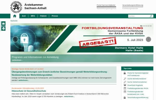 Vorschau von www.aeksa.de, Ärztekammer Sachsen-Anhalt