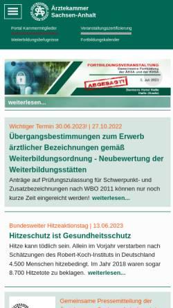 Vorschau der mobilen Webseite www.aeksa.de, Ärztekammer Sachsen-Anhalt
