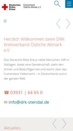 Vorschau der mobilen Webseite www.kv-oestliche-altmark.drk.de, DRK Kreisverband Östliche Altmark e.V.