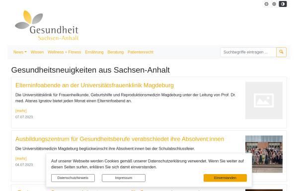 Vorschau von www.gesundheit-sachsen-anhalt.de, Gesundheit Sachsen-Anhalt