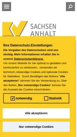 Vorschau der mobilen Webseite www.kvsa.de, Kassenärztliche Vereinigung Sachsen-Anhalt