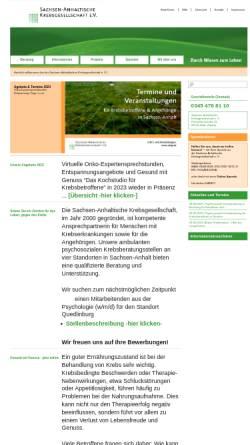 Vorschau der mobilen Webseite sakg.de, Sachsen-Anhaltische Krebsgesellschaft e.V.