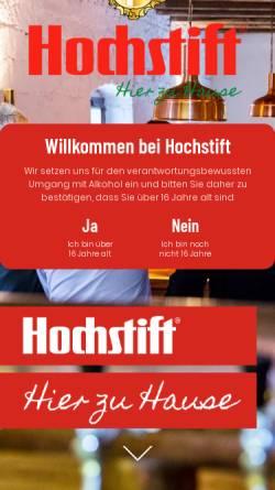 Vorschau der mobilen Webseite www.hochstift.de, Hochstiftliches Brauhaus Fulda GmbH