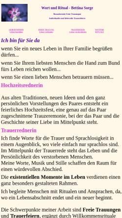 Vorschau der mobilen Webseite www.todtrauerritual.de, Bettina Sorge