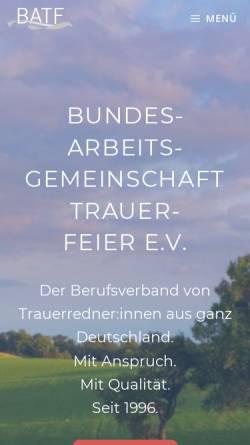 Vorschau der mobilen Webseite www.batf.de, Bundesarbeitsgemeinschaft Trauerfeier