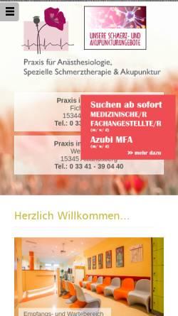 Vorschau der mobilen Webseite www.aoz-strausberg.de, Gemeinschaftspraxis für Anästhesiologie in Strausberg
