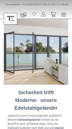 Vorschau der mobilen Webseite www.edelstahl-trummer.de, Trummer-Edelstahl GmbH
