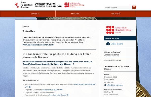 Vorschau von www.lzpb-bremen.de, Landeszentrale für politische Bildung Bremen