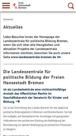 Vorschau der mobilen Webseite www.lzpb-bremen.de, Landeszentrale für politische Bildung Bremen
