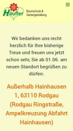 Vorschau der mobilen Webseite www.haufler-garten.de, Haufler Baumschule und Gartengestaltung