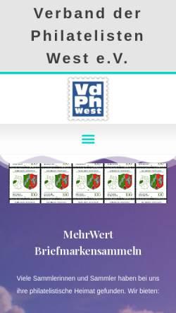 Vorschau der mobilen Webseite www.vdph.de, Verband der Philatelisten in Nordrhein-Westfalen e.V. (VdPh)