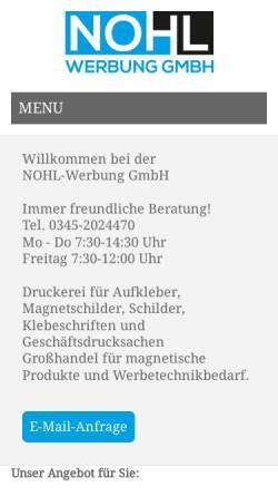 Vorschau der mobilen Webseite www.nohlwerbung.de, Nohlwerbung