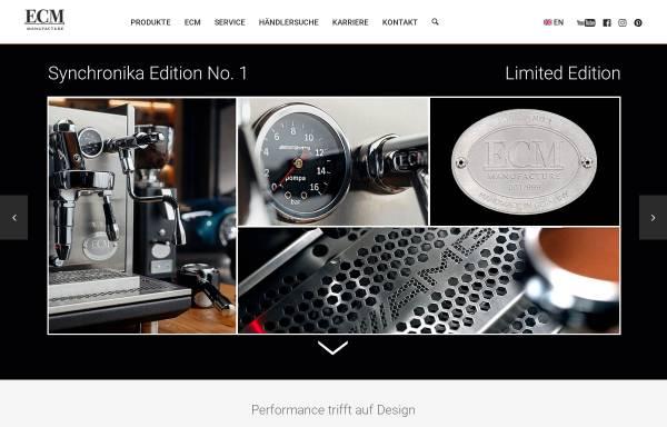 Vorschau von www.ecm.de, ECM - Espresso Company Milano Deutschland GmbH