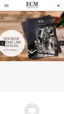Vorschau der mobilen Webseite www.ecm.de, ECM - Espresso Company Milano Deutschland GmbH