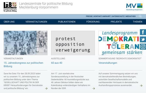Vorschau von www.lpb-mv.de, Landeszentrale für politische Bildung MecklenburgVorpommern