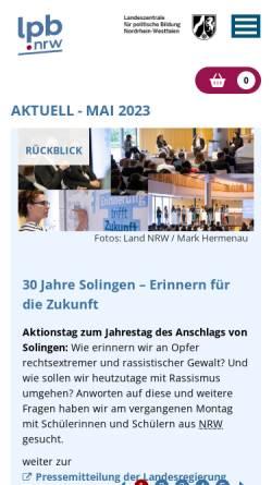 Vorschau der mobilen Webseite www.politische-bildung.nrw.de, Landeszentrale für politische Bildung Nordrhein-Westfalen