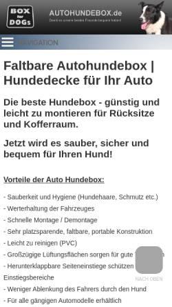 Vorschau der mobilen Webseite www.autohundebox.de, Box for Dogs, Alexander Pump