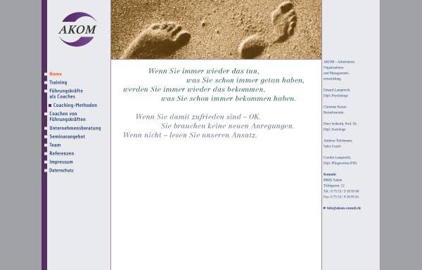 Vorschau von www.akom-consult.de, AKOM Arbeitskreis Organisations- und Managemententwicklung