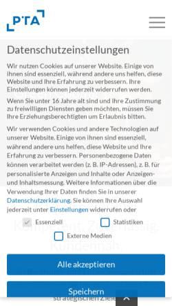 Vorschau der mobilen Webseite www.pta.de, PTA GmbH