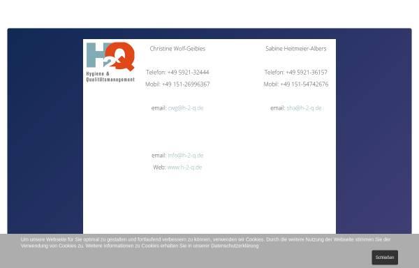 Vorschau von www.h-2-q.de, H2Q - Hygiene und Qualitätsmanagemant, Inh. Sabine Heitmeier-Albers und Christine Wolf-Geibies