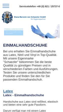 Vorschau der mobilen Webseite www.einmalhandschuhe.de, Diana Baronin von Schaezler GmbH