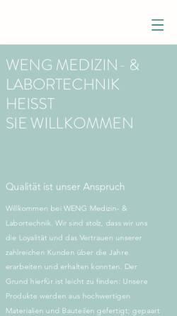 Vorschau der mobilen Webseite www.weng-medizintechnik.de, Weng Medizin- & Labortechnik, Inh. Klaus Weng