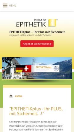 Vorschau der mobilen Webseite www.epithetikplus.com, Institut für Epithetik