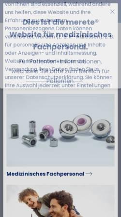 Vorschau der mobilen Webseite merete.de, Merete Medical GmbH