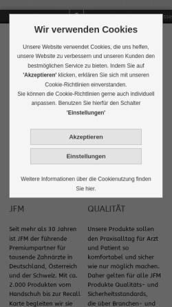 Vorschau der mobilen Webseite www.jfm.de, JFM Josef F. Müller AG