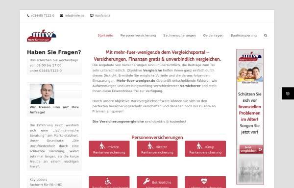 Vorschau von www.mfw.de, Marketing,- Finanz und Wirtschaftsdienstvermittlungs GmbH