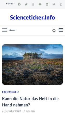 Vorschau der mobilen Webseite www.scienceticker.info, Scienceticker