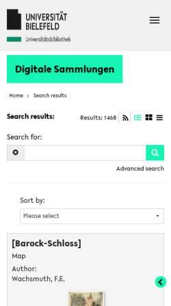 Vorschau der mobilen Webseite www.ub.uni-bielefeld.de, Wissenschaftliche Zeitschriften des 18. und 19. Jahrhunderts