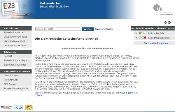 Vorschau von rzblx1.uni-regensburg.de, Zeitschriften-Übersicht der Universitätsbibiliothek Regensburg