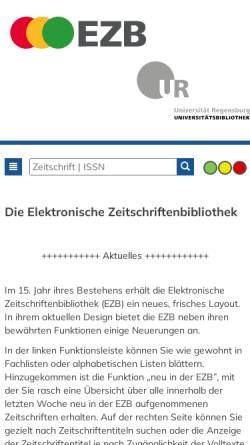 Vorschau der mobilen Webseite rzblx1.uni-regensburg.de, Zeitschriften-Übersicht der Universitätsbibiliothek Regensburg