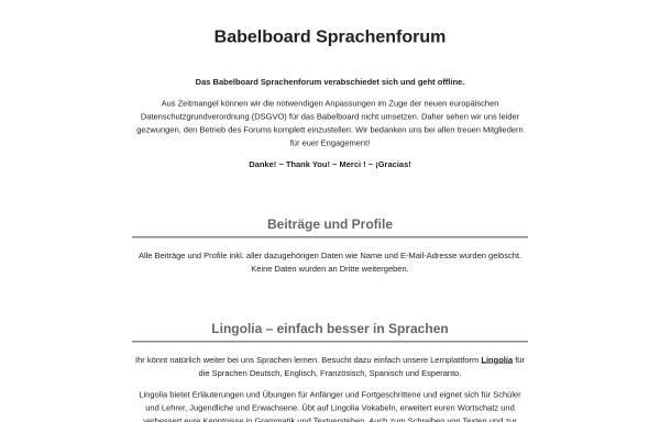 Vorschau von www.babelboard.de, Babelboard Sprachenforum