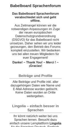 Vorschau der mobilen Webseite www.babelboard.de, Babelboard Sprachenforum