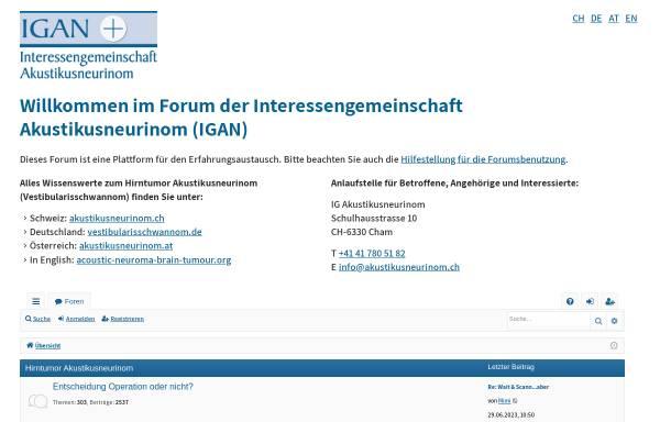 Vorschau von www.akustikusneurinom.info, IG Akustikusneurinom (IGAN)