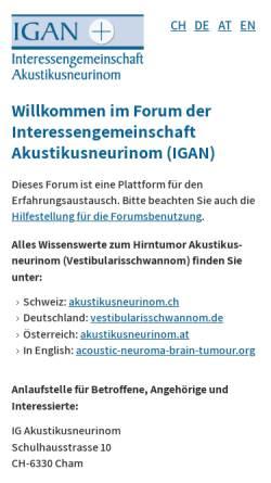 Vorschau der mobilen Webseite www.akustikusneurinom.info, IG Akustikusneurinom (IGAN)