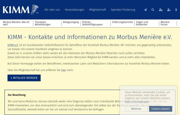 Vorschau von www.kimm-ev.de, KIMM e.V. - Kontakte und Informationen zu Morbus Menière