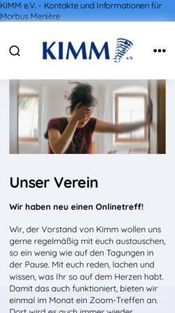 Vorschau der mobilen Webseite www.kimm-ev.de, KIMM e.V. - Kontakte und Informationen zu Morbus Menière