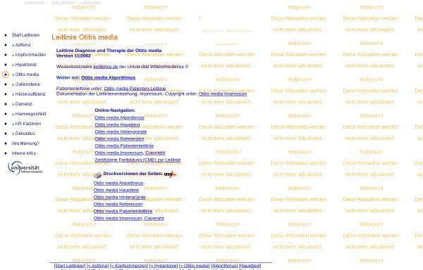 Vorschau von www.evidence.de, Leitlinie Otitis media acuta