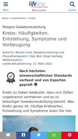 Vorschau der mobilen Webseite www.lifeline.de, Lifeline Special: Krebs