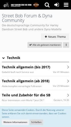 Vorschau der mobilen Webseite street-bob-forum.de, Street Bob Forum